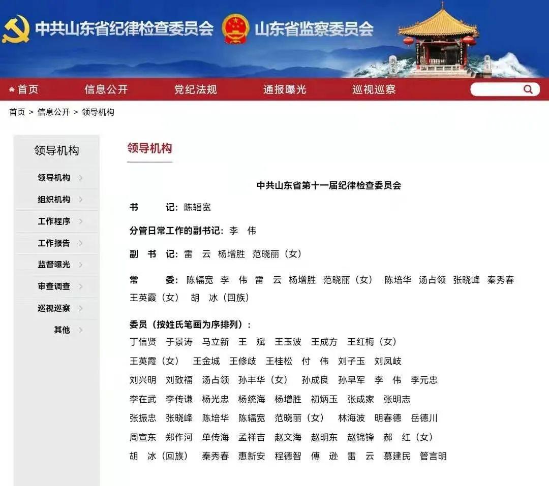 李伟同志任山东省纪委分管日常工作的副书记